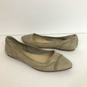Frye Point Flats Taupe Gray Suede Leather 8.5